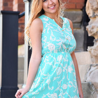turquoise & white print sleeveless dress