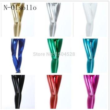 2016 Sexy Slim Pencil Pants Bright High Waist Candy Colours Solid Leggings Nine Metallic Texture Faux Leather Leggings 14 Colors