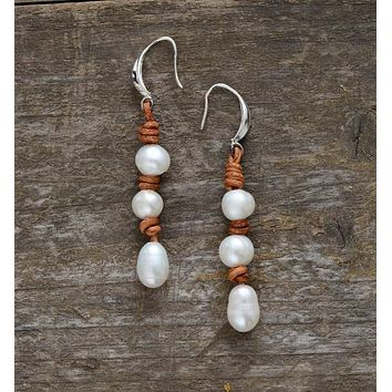 Women Pearl Earrings Freshwater Pearls Leather