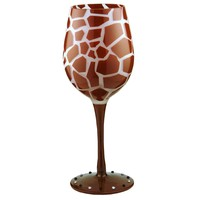 Bottom's Up 15-Ounce Giraffe Handpainted Wine Glass
