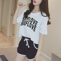 Fashion Casual Letter Print Round Neck Short Sleeve Set Two-Piece Sportswear