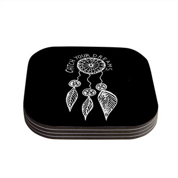 """Vasare Nar """"Catch Your Dreams Black"""" White Typography Coasters (Set of 4)"""