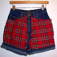 Red Flannel High Waisted Denim Shorts