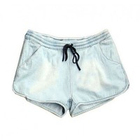 Light Blue Denim Shorts with Drawstring Waist and Split Cuffs