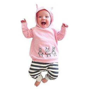 Cute Pig Printed Pink Newborn Toddler Infant Baby Girls Casual Clothes Hoodie Tops Pants Leggings 2Pcs Casual Clothes Outfits
