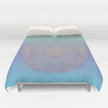 Mandala Pillow Cover Mint Green Purple Blue Pillow Case Boho Bohemian India Indian Home Aprtment Dorm Decor 16x16, 18x18, 20x20