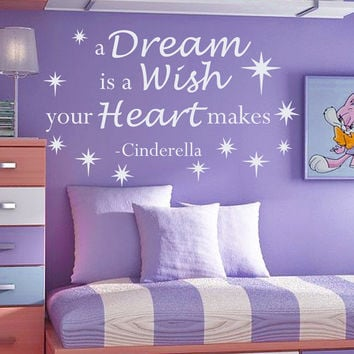 Cinderella Wall Decals Quote a Dream Is a Wish Your Heart Makes Vinyl Decal Sticker Bedroom Interior Design Mural Girl Nursery Decor MR352