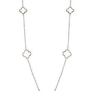 Humble Chic Women's Clover Necklace - Silver/Gold - Long Delicate Parisian Charm Chain