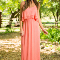 Beach Craze Maxi Dress, Coral