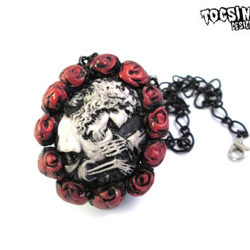 Skeleton Lady Gothic Cameo - macabre jewelry - Gothic lolita - gothic jewelry - skull jewelry - memento mori jewelry - sugar skull necklace