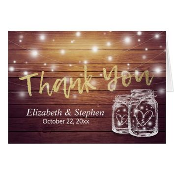 Wedding Thank You Rustic Wood Mason Jar Lights Card