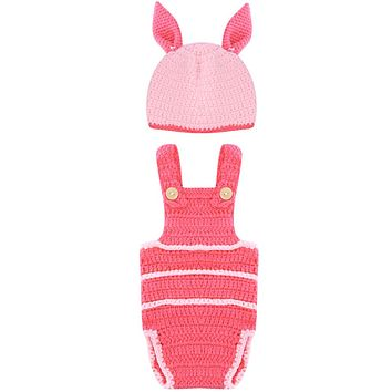 Newborn Baby Prop Pink Bunny Hat Diaper Cover Baby Hat Newborn Photography Props Costume Rabbit Baby Caps