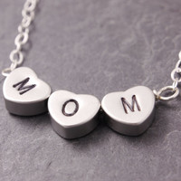 I Love You Mom Necklace, mini heart necklace, silver heart, mother necklace, mommy necklace, handstamped necklace, initial necklace, N5-3