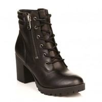 STEVE MADDEN WOMENS BLACK NOODLESS LEATHER BOOTS