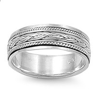 Handcast Unisex 925 Sterling Silver Celtic Weave Spin Spinner Ring