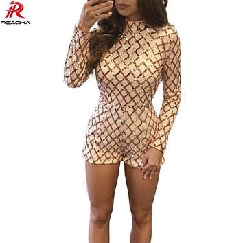 Women Gold Line Sequined jumpsuit 2017 New fashion Lady back straps Autumn women long sleeve Beads high neck Playsuits Feminino