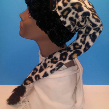 Leopard animal print fleece women winter hat