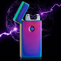 High Quailty Cross Double Arc Lighter Case USB Pulse Windproof Lighters Electronic Metal Men Cigarette lighter -BSG307