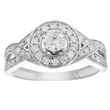 0.31 Carats 3/4 CT Diamond Halo Round Wedding Engagement Ring 14K White Gold
