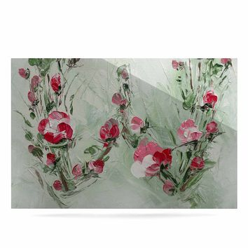 """Maria Bazarova """"Floral Monogram W"""" Pink Green Floral Nature Painting Digital Luxe Rectangle Panel"""