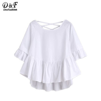 Dotfashion White Crisscross Back Ruffle Top Autumn Ladies Half Sleeve Round Neck Cute Shirt High Low Blouse