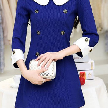 Color Block Peter Pan Collar Slim Dress
