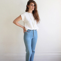 Vintage 70s Levi's High Waisted Blue Denim Jeans // Women's Movin On Bell Bottoms