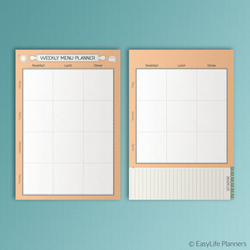 Menu Planner A5 Filofax Inserts Meal Printable A5 Menu Inserts A5 Menu Plan Shopping List A5 Inserts Grocery List A5. Instant Download PDF