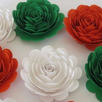 "6 Roses, Ireland Tricolor flag colors, Orange White Green, Irish American Wedding decorations, large 3"" paper flowers, Pub table centerpiece"