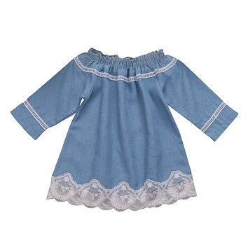 Lovely Kids Baby Princess Girls Lace Stitching Dress Off Shoulder Denim Dress Party Pageant