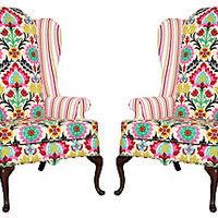 One Kings Lane - Vintage Labor Day Blowout - Queen Anne-Style Drexel Wingbacks, Pair