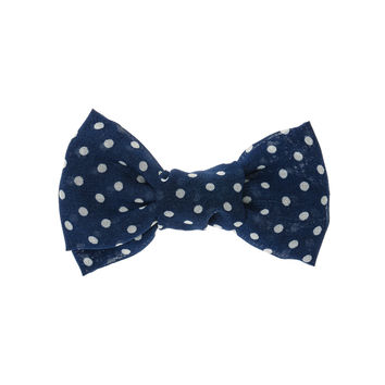 Navy and White Spot Bow Hair Clip
