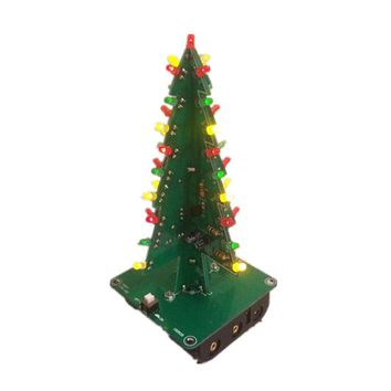 Three-Dimensional 3D Christmas Tree LED DIY Kit Red/Green/Yellow LED Flash Circuit Parts Electronic Fun Suite Christmas Gift