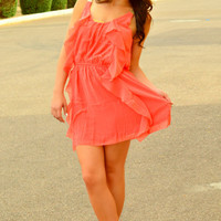 FALLING FOR YOU CORAL DRESS