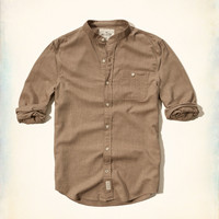 Banded Collar Lightweight Flannel Shirt