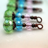 Green Blue and Pink Vintage Style Bead Drop Dangle Charm Set - 4 Pieces
