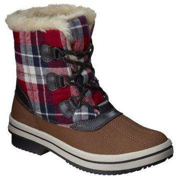 Women's Merona® Nara Winter Boot - Brown/Plaid