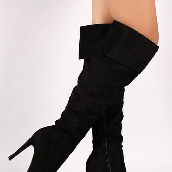 Suede Pointy Toe Cuff Over-The-Knee Stiletto Boots