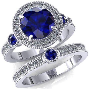 Brachium Round Lab-Created Blue Sapphire Bezel Milgrain Halo 3/4 Eternity Accent Diamond Ring