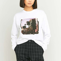 BDG Palm Tree Long Sleeve White Top - Urban Outfitters