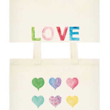 Watercolor Hearts Word Love Tote, Reusable Cotton Tote