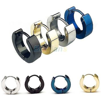 1 Pair Cool Men's Stainless Steel Hoop Earring 4 COLORS Available