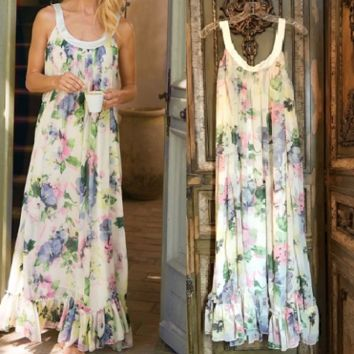 Soft Surroundings Floral Ruffle Nightgown Sz L NWOT