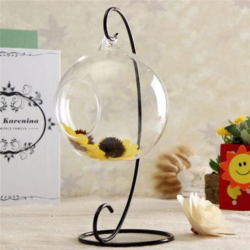Fashion Clear Round Ball Hanging Decoration Glass Flower Vase Plant Terrarium Container Warmer Gift Glass Craft
