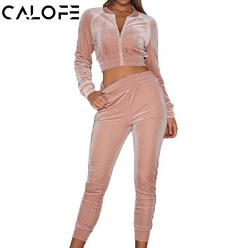 CALOFE 2018 Autumn Velvet Women Sport Suit Running Sets Gym Sportswear Jogging Suits High Waist Long Sleeve Jackets Joggers