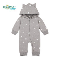 Spring Cartoon Star Pattern Hooded Baby Rompers Newborn Clothing Cotton Long Sleeve Jumpsuits Boys Girls Outerwear Costume