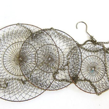 Vintage Wire Mesh Hanging Baskets // gold colored metal // 3 tiers baskets