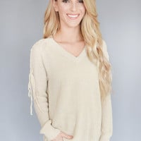 Easy Street Shoulder Lace Up Sweater
