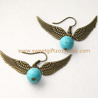 Harry potter Enchanted Golden Snitch ball earrings,  antique brass wing earrings, Turquoise