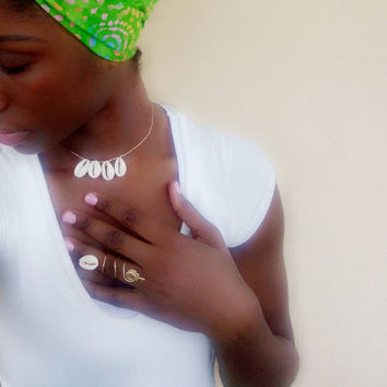 Cowrie shell ankh statement ring and choker set- African ring - Afrocentric ring - bohemian - adjustable ring - wrap ring - oversized ring